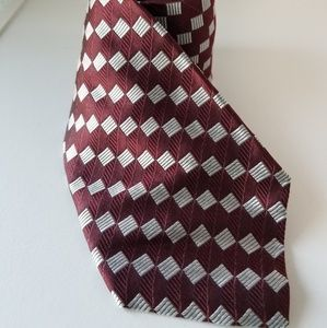 Tom James red white check silk tie